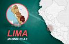 Sismo en Lima de 4 grados se registró esta madrugada de este sábado 16