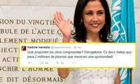 Nadine Heredia deja clara su posición en Twitter: no desea que el Congreso deroge Ley Pulpín.