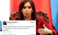 Cristina Fernández y su mensaje en Twitter.