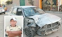 el coche de Palomino terminó empotrándose contra un aviso publicitario