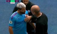 Sergio Agüero no soportó que fuera sustituido y estalló con 'Pep' Guardiola