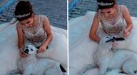 Niña posa con perro callejero y foto se vuelve viral