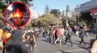 Caravineros actuaron con carros lanza agua y lanza gas para ahuyentar a manifestantes