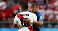 Perú ante Francia en el Mundial de Rusia 2018.