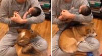 El tierno perrito se puso celoso del nuevo integrante de la familia.