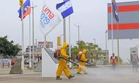 Proyecto Especial Legado de los Juegos Panamericanos y Parapanamericanos realiza las labores de desinfección.