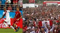 La hinchada peruana alentó a la selección de principio a fin.