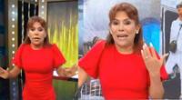 Magaly Medina incómoda por empezar tarde su programa.