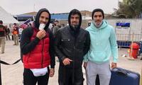 Luis Aguiar, Federico Rodríguez y Adrián Balboa  a su arribo a Lima.