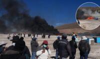 En Puno incendia campamento de Vilavilani en límite con Tacna