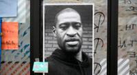Imagen de George Floyd, quien murió bajo custodia policial, se exhibe en un memorial improvisado cerca de la zona de su arresto, en Minneapolis, Minnesota, Estados Unidos, el 29 de mayo de 2020.