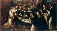 Pintura de la muerte de Santa Rosa de Lima.