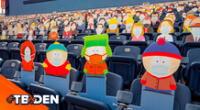 Personajes de la serie animada South Park en la tribuna.