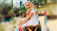 """""""La mirada de mi bisabuela ella no conocía el mar. Su cara tan bella a los 97 años"""", se lee en la publicación."""