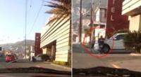 La mujer no permitió que su esposo escapara y se subió a la camioneta.