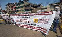 Los trabajadores de la Universidad Cayetano Heredia protestan para que se cumpla el pliego de reclamos presentado en marzo.