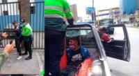 El detenido en el momento de la detención y siendo trasladado a la comisaría