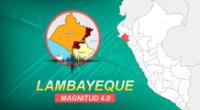 Sismo en Lambayeque ocurrió a las 16:16 horas de la tarde de este lunes, según IGP.