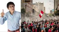 Fernando Armas se unió a la marcha que pide la salida de Manuel Merino de la presidencia del Perú.