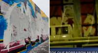 Captan a sujetos pintando de color blanco el mural en honor a Inti y Bryan en el Centro de Lima, destruyéndolo por completo y dejando un mensaje a todos los transeúntes sobre la conmemoración de los jóvenes.