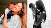 Korina Rivadeneira emocionada por el bautizo de su bebé.