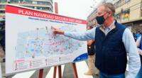Jorge Muñoz, alcalde de Lima, junto a la PNP establecieron el plan Navidad segura 2020, para asegurar los espacios libres para los transeúntes y comerciantes de las galerías.