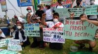 Organizaciones y vecinos de Comas realizaron protesta contra la tala de árboles del parque Sinchi Roca.