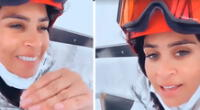 Ethel Pozo logró completar su primera clase de esquí.