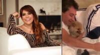 Magaly Medina y Alfredo Zambrano se reencuentran con sus mascotas tras regresar al Perú.