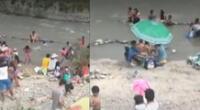 Cientos de personas en la ribera de río Lurín.