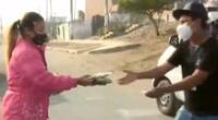 Extranjera apoya con víveres a comedor popular en Ancón.