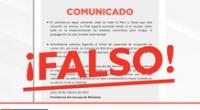 La PCM pide a la población a no dejarse llevar por informaciones falsas que circulan en las redes sociales.