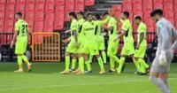 Atlético de Madrid es puro festejo tras derrotar al Granada 2-1.