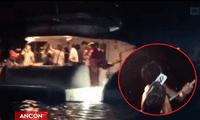 Más de 20 personas se juntaron a celebrar dentro de la nave acuática