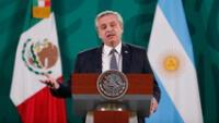 El presidente de Argentina, Alberto Fernández, participó en la conferencia matutina del presidente de México Andrés Manuel López Obrador en Palacio Nacional. (Foto: ALFREDO ESTRELLA / AFP).