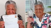 La anciana recibió de regalo decenas de botellas de vino.