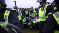La protesta contra las restricciones del coronavirus en Londres, Reino Unido, el 20 de marzo de 2021.