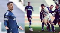 Cristiano Ronaldo no pudo en Turín ante el Benevento de Gianluca Lapadula.
