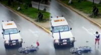 Motociclista salva de morir tras ser atropellado por ambulancia.