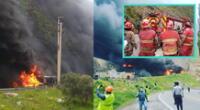 Bomberos no logran controlar incendio tras explosión de cisternas de combustible.