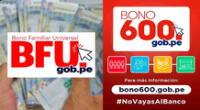 El Bono 600 y el BFU continúan pagándose en el 2021