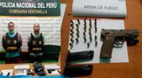 Los detenidos y el arma robada a PNP