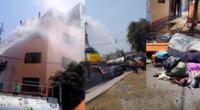 Jardineros con su cisterna controlan un siniestro incendio en Surco.