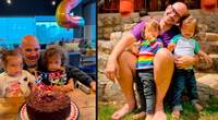 Ricardo Morán celebra el cumpleaños número 2 de sus hijos.
