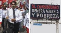 Vladimir Cerrón expresó su rechazo de los mensajes en paneles LED contra el comunismo.