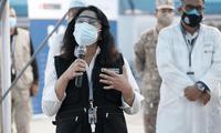 Violeta Bermúdez, se durante la supervisión de la campaña de vacunación 'Pongo el Hombro' en Ate