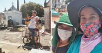 Brasil: joven limpia tumbas en el cementerio para ganar dinero y pagar la operación de su mamá enferma