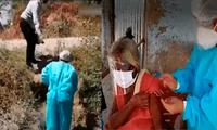 Enfermera cruza acequias para vacunar a adultos mayores que no pueden movilizarse