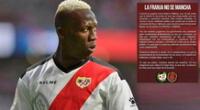 Afición del Rayo arremete contra Luis Advíncula en redes.