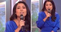 Tula Rodríguez tuvo incidente con su vestido en vivo.